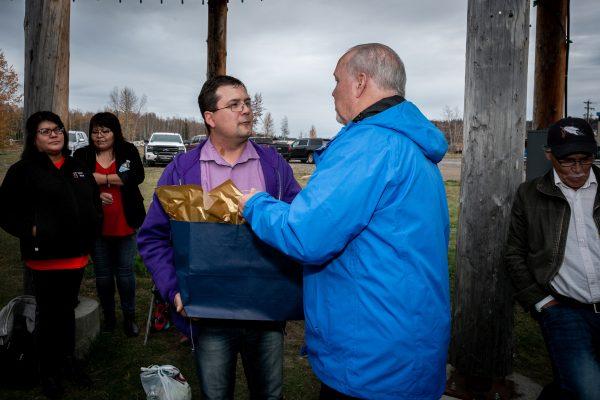 Premier Horgan presents gift to KDC Chair, Danny Case