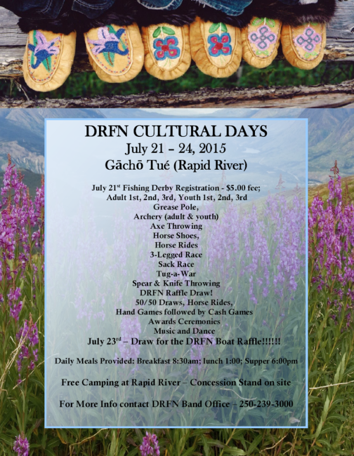 Dease River First Nation Cultural Days 2015 Poster