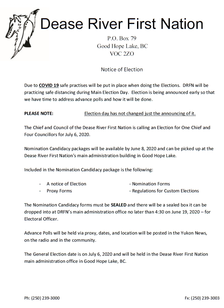 Dease River First Nation Notice of Election
