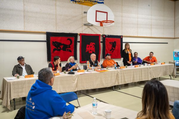 Premier Travels to Lower Post to Meet with First Nations, Visits Former Residential School, Oct 2019—Premier Horgan speaks at Community Feast at Denetia School, Lower Post