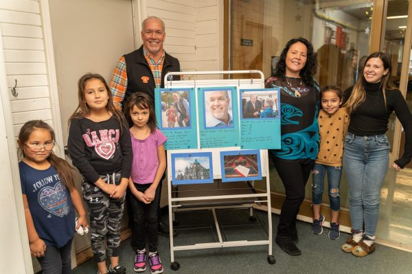 Premier Travels to Lower Post to Meet with First Nations, Visits Former Residential School, Oct 2019—Premier Horgan with Principal and students at Denetia School, Lower Post