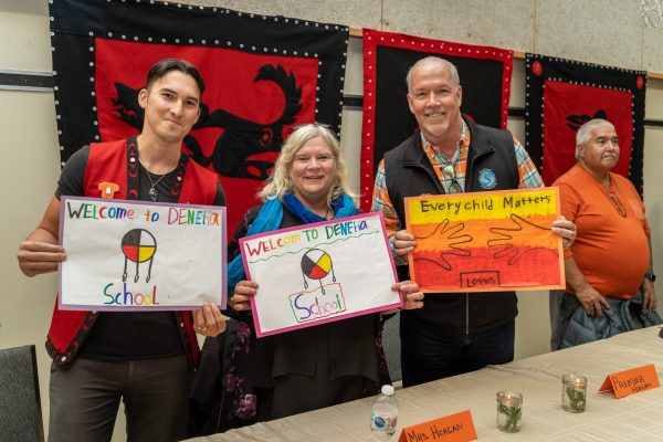 Premier Travels to Lower Post to Meet with First Nations, Visits Former Residential School, Oct 2019—Premier John Horgan and Mrs. Ellie Horgan at Community Feast at Denetia School, Lower Post