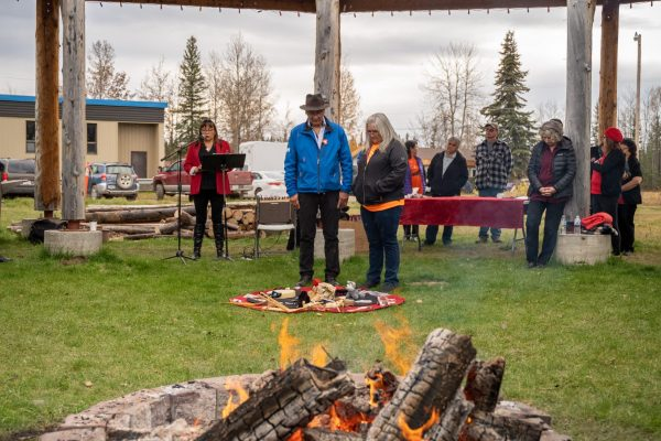 Premier Travels to Lower Post to Meet with First Nations, Visits Former Residential School, Oct 2019—SWWG ceremony in Drum Circle