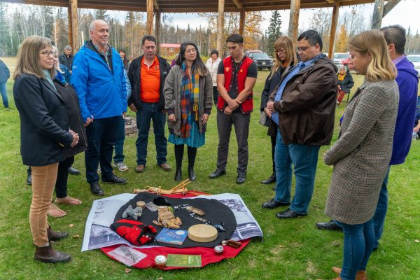Premier Travels to Lower Post to Meet with First Nations, Visits Former Residential School, Oct 2019—One of the many powerful moments in the SWWG ceremony in the Drum Circle
