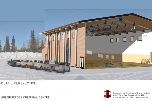 New multi-purpose cultural building to come; design rendering—Lower Post